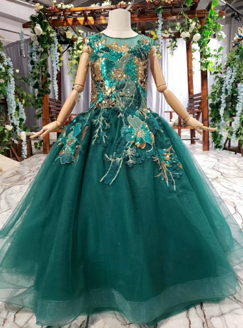 Green Tulle Sequins Appliques Sleeveless Floor Length Flower Girl Dress