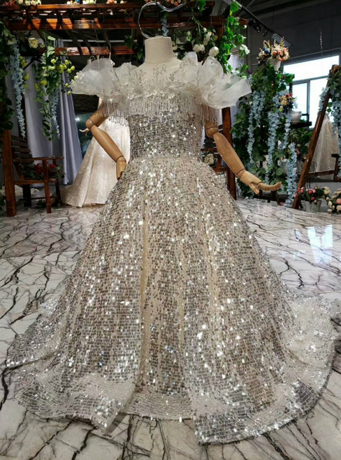 Champagne Sequins Backless Appliques Beading Flower Girl Dress