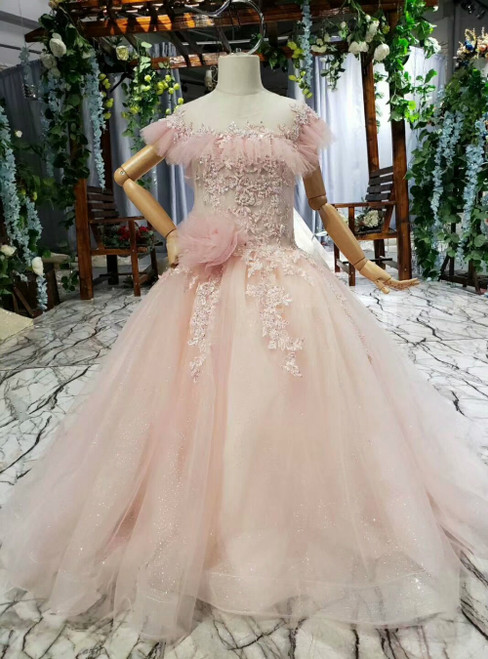 Princess Pink Ball Gown Tulle Sequins Appliques Backless Flower Girl Dress