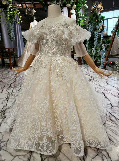 Champagne Tulle Sequins Appliques Beading Short Sleeve Flower Girl Dress