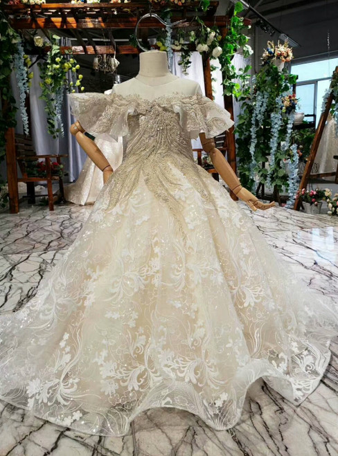 Champagne Tulle Sequins Appliques Beading Backless Flower Girl Dress