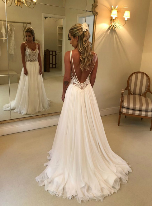 A-Line White Chiffon V-neck Backless Appliques Simple Wedding Dress
