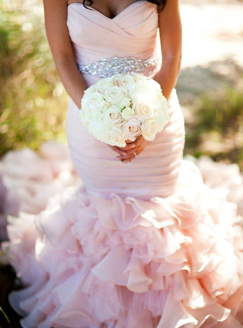 Pink Mermaid Sweetheart Pleats Ruffles Wedding Dress With Crystal Belt