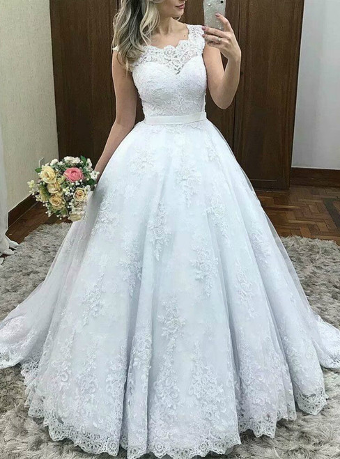 White Ball Gown Tulle Lace Appliques Sleeveless Wedding Dress With Bow