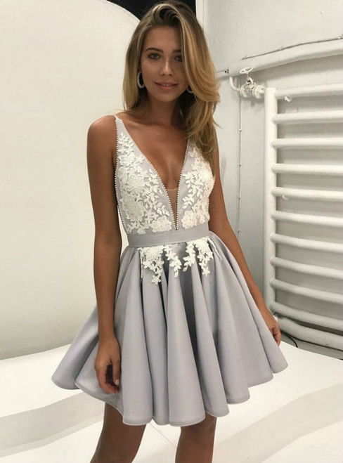 Gary Deep V-Neck Backless Short Homecoming Dress With Lace
