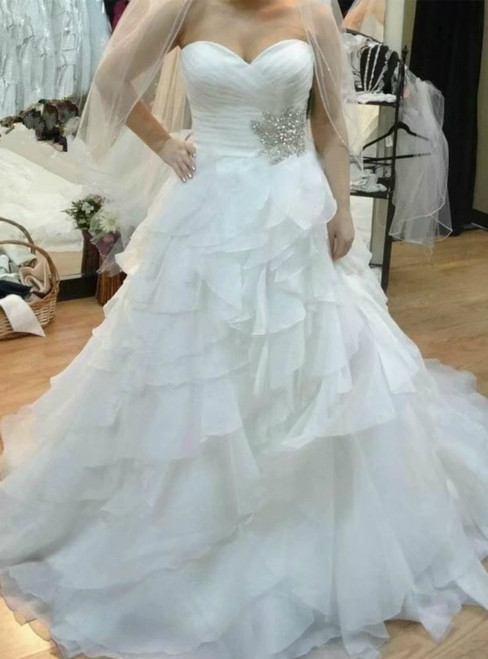White Sweetheart Pleats Chiffon Sexy Wedding Dress With Beading