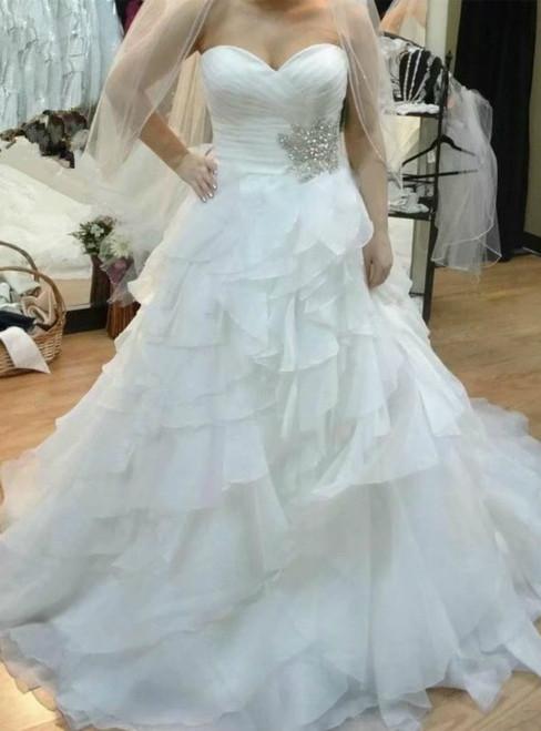 White Sweetheart Pleats Chiffon Sexy Wedding Dress With Beading
