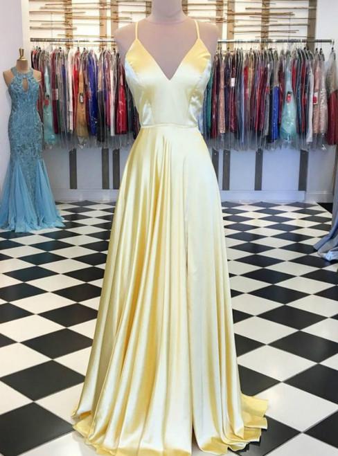 A-Line Yellow Satin V-neck Lace Up Back Formal Prom Dress