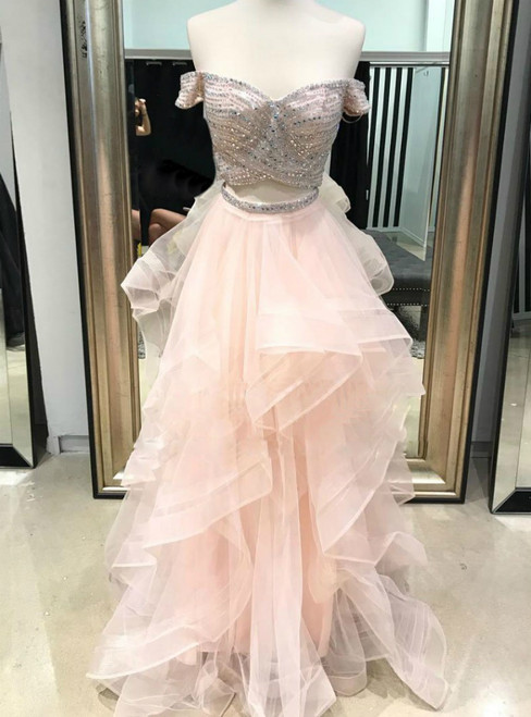 A-Line Pink Tulle Two Piece Off the Shoulder Long Prom Dress