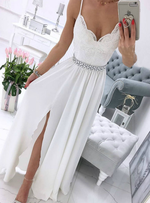 A-Line White Chiffon Lace Spaghetti Straps Long Prom Dress With Crystal