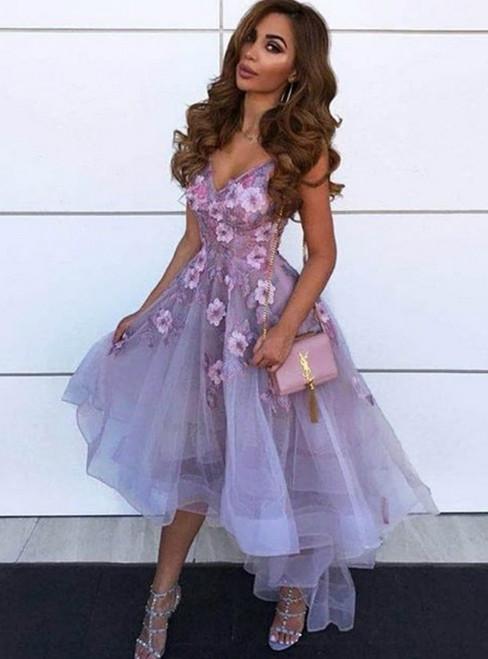 A-Line Purple Tulle Hi Lo V-neck Appliques Prom Dress
