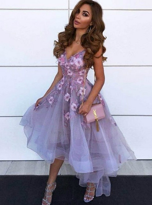 A-Line Purple Tulle Hi Lo V-neck Appliques Prom Dress