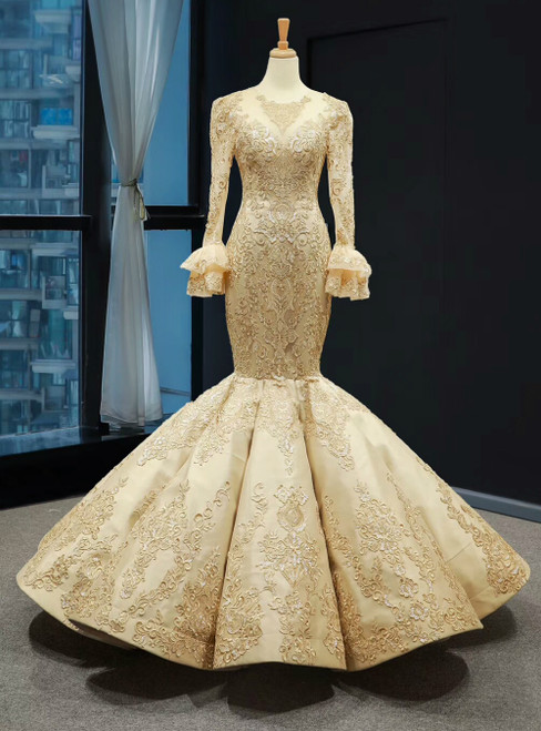 Gold Mermaid Satin Lace Appliques Long Sleeve Luxury Prom Dress