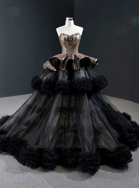 Black Ball Gown Tulle Gold Sequins Sweetheart Formal Prom Dress