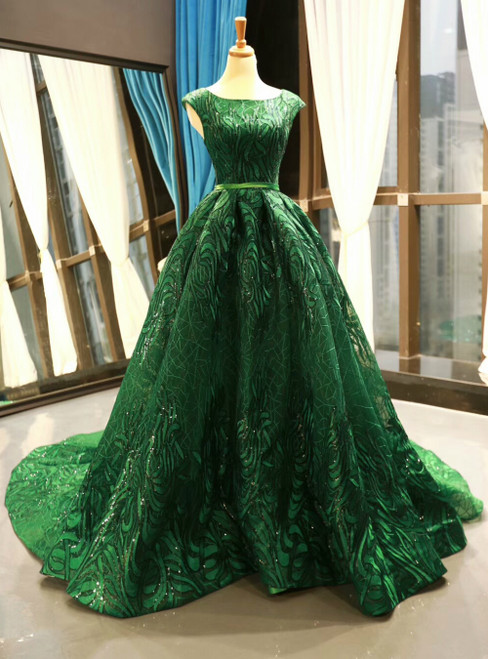 Green Ball Gown Lace Sequins Backless Cap Sleeve Prom Dress