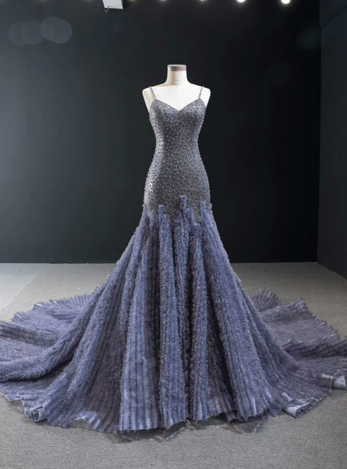 Gray Mermaid Tulle Sequins Spaghetti Straps Beading Prom Dress With Train