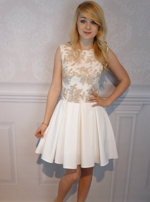 Nude Jewel Sleeveless Short Homecoming Dress With Appliques