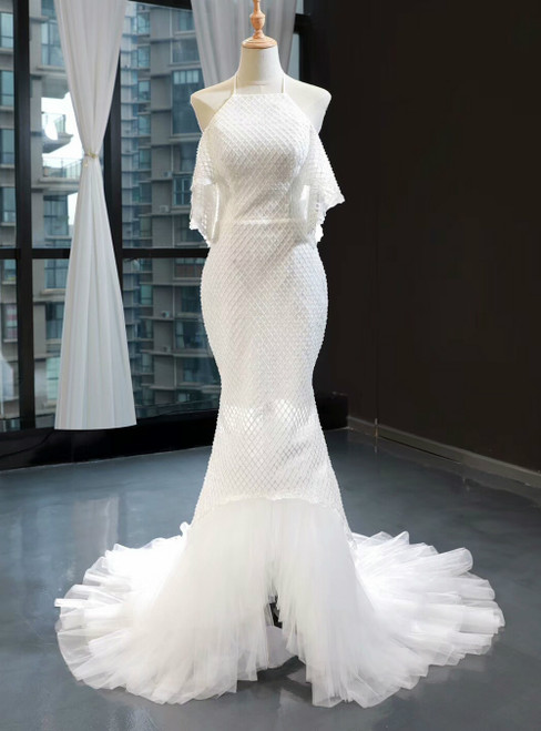 Sexy Mermaid White Tulle Halter Backless Wedding Dress