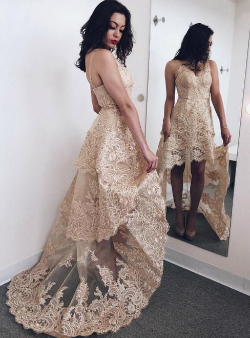 A-Line Gold Lace Appliques Hi Lo V-neck Short Prom Dress
