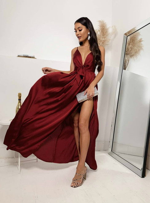 A-Line Burgundy Satin Spaghetti Straps Prom Dress With Side Split