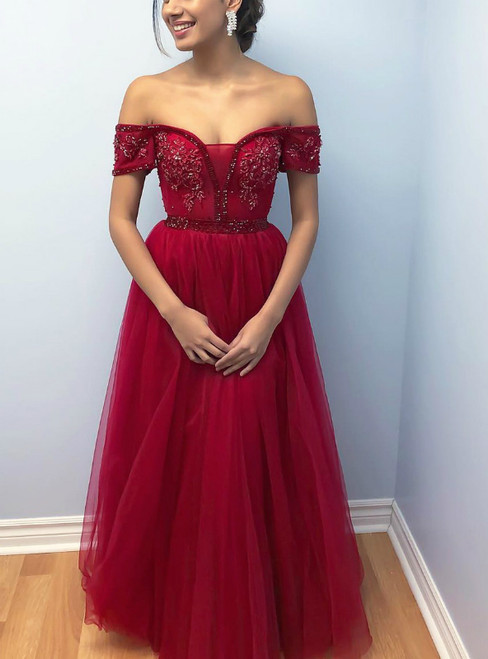 A-Line Burgundy Tulle Off the Shoulder Short Sleeve Prom Dress