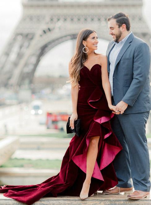 Burgundy Memraid Velvet Hi Lo Sweetheart Long Prom Dress