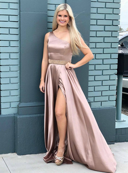 A-Line Satin One Shoulder Sleeveless Long Prom Dress With Side Split