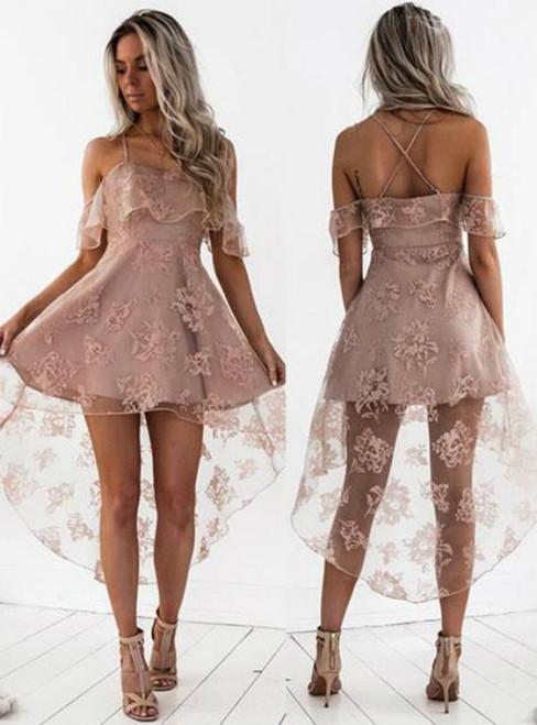 Dusty Pink Homecoming Dresses Ruffles Sheer Layer Short Prom Dresses
