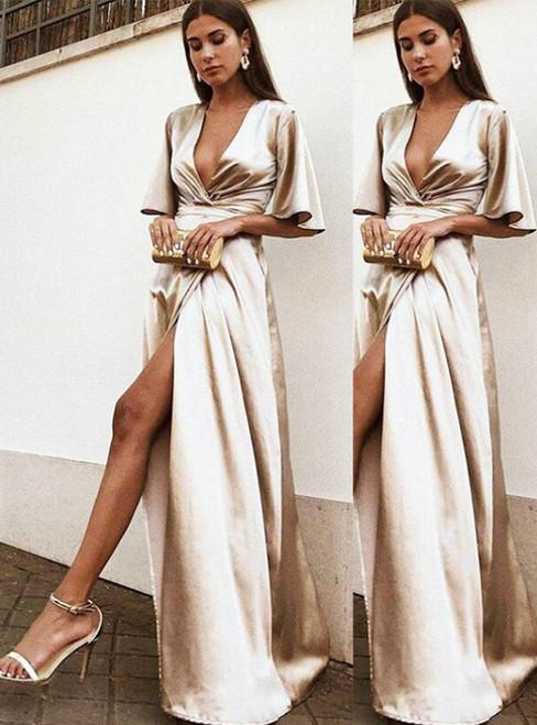 A-Line Champagne Satin V-neck Butterfly Sleeve Prom Dress