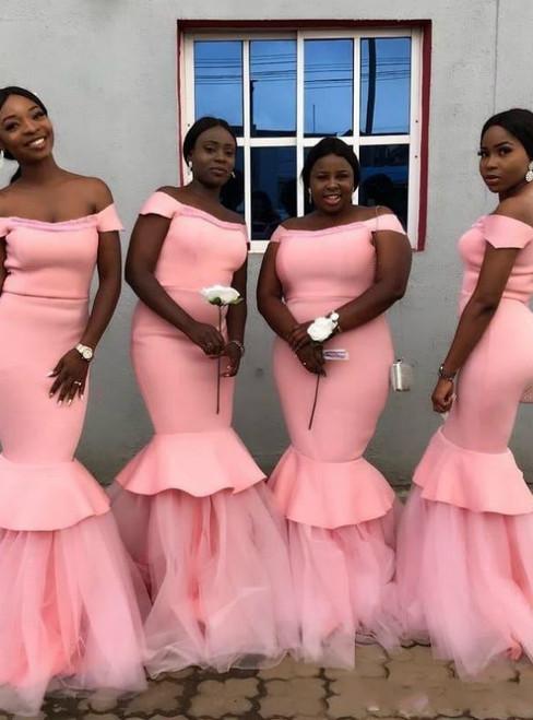 Pink Memraid Satin Tulle Off the Shoulder Long Bridesmaid Dress