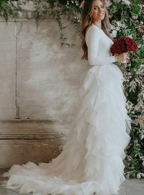 A-Line White Tulle Long Sleeve Backless Ruffles Wedding Dress