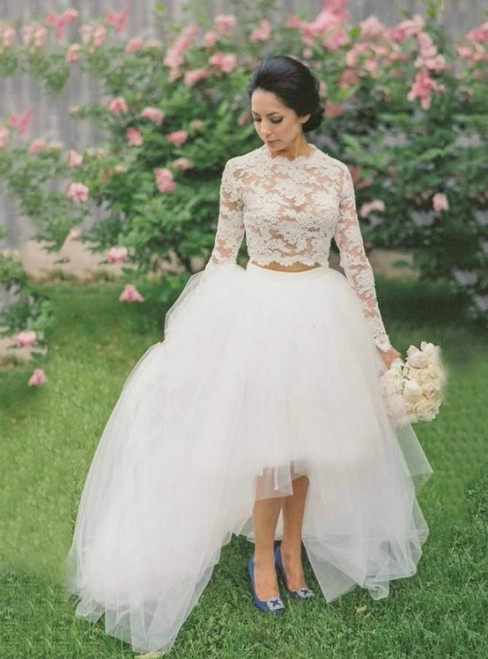 A-Line White Lace Tulle Hi Lo Long Sleeve Wedding Dress