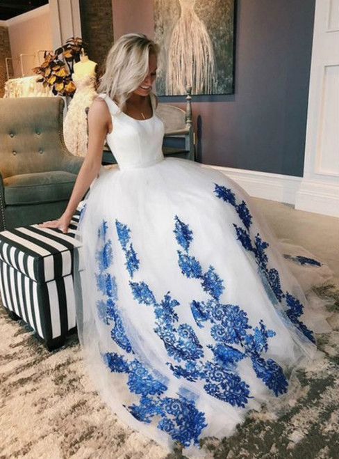 A-Line White Tulle Blue Lace Appliques Sleeveless Wedding Dress