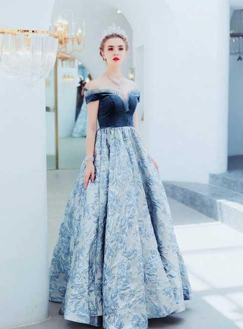 In Stock:Ship in 48 Hours Blue Satin Off the Shoulder Prom Dress