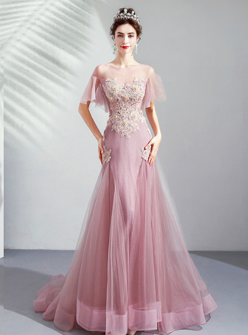In Stock:Ship in 48 Hours Pink Mermaid Tulle Appliques Prom Dress