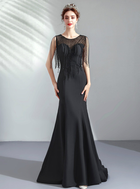 In Stock:Ship in 48 Hours Black Mermaid Satin Prom Dress With Beading