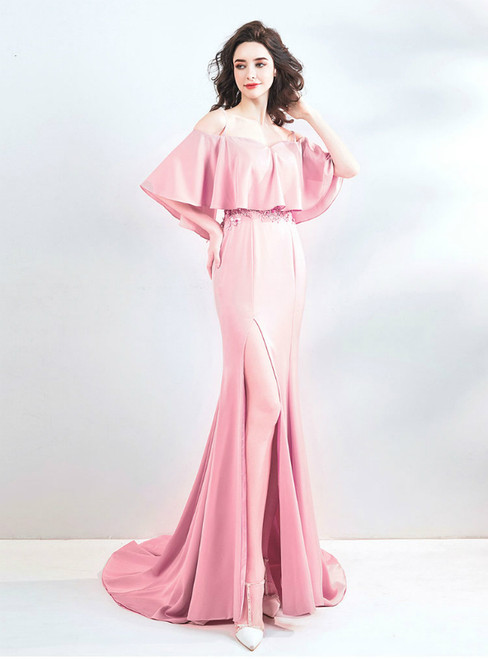 In Stock:Ship in 48 Hours Pink Mermaid Appliques Prom Dress