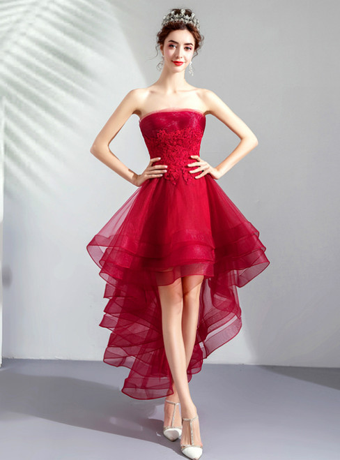 In Stock:Ship in 48 Hours Burgundy Hi Lo Tulle Appliques Prom Dress