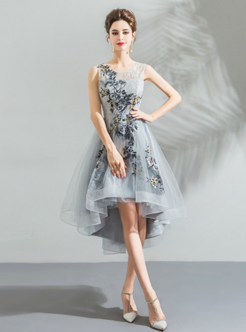 In Stock:Ship in 48 Hours Gray Tulle Embroidery Appliques Short Prom Dress