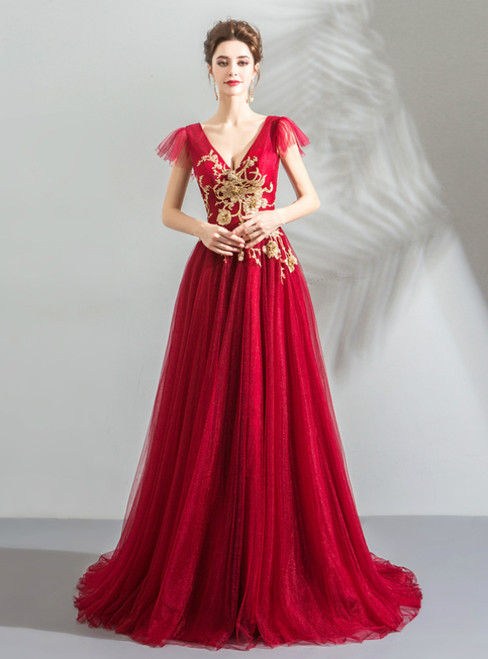 In Stock:Ship in 48 Hours Red Tulle V-neck Backless Appliques Prom Dress