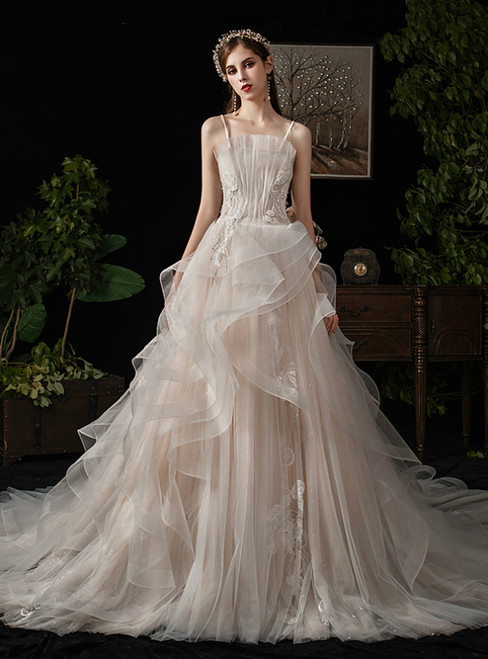 Light Champagne Tulle Spaghetti Straps Appliques Wedding Dress