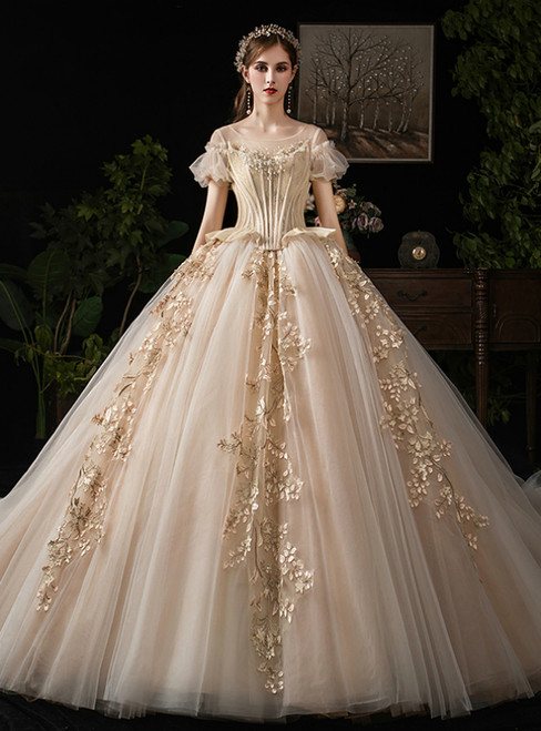 Dark Champagne Tulle Appliques Puff Sleeve Backless Wedding Dress