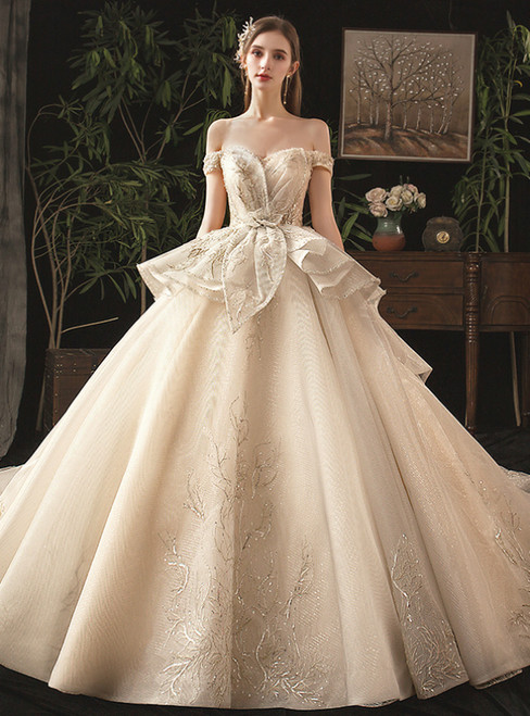 Champagne Ball Gown Tulle Sequins Off the Shoulder Beading Wedding Dress With Train