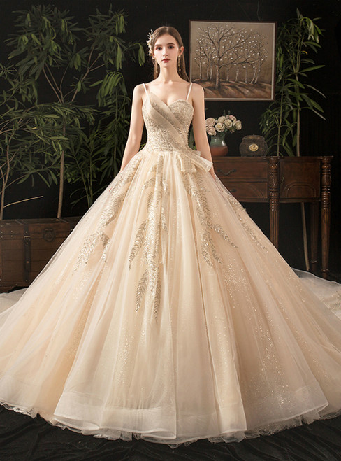 Champagne Sequins Tulle Sweetheart Sleeveless Wedding Dress