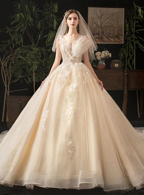 Champagne Tulle Sequins V-neck Appliques Open Back Wedding Dress
