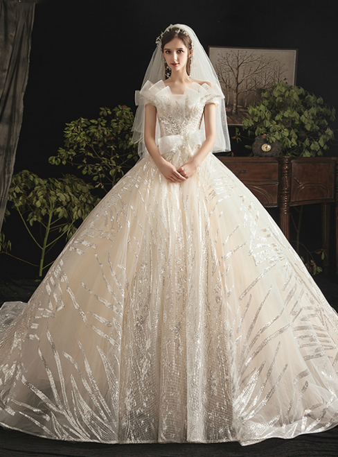 Stunning Champagne Ball Gown Tulle Sequins Off the Shoulder Wedding Dress