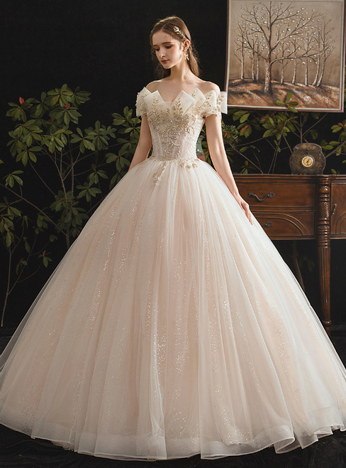 Champagne Tulle Sequins Off the Shoulder Beading Floor Length Wedding Dress