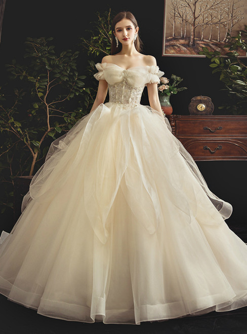 Glamorous Champagne Ball Gown Tulle Off the Shoulder Appliques Wedding Dress