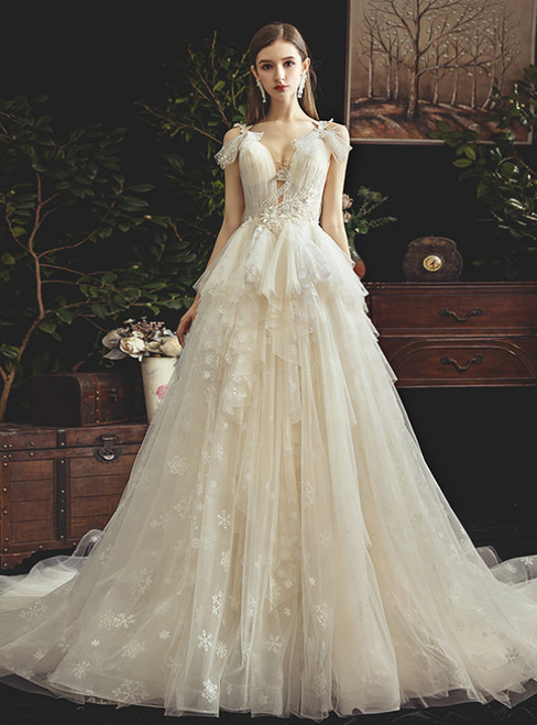 Princess Tulle See Through V-neck Pleats Beading Wedding Dress