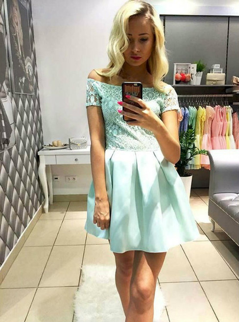 Mint Homecoming Dresses A-line Homecoming Dresses Off Shoulder Homecoming Dresses